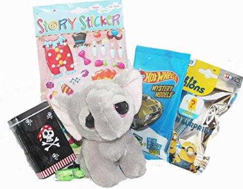110083 Kinder Geschenk Set Yoohoo Elefant für Jungs von 3 – 7 Jahre mit Hot Wheels Blindbag Minions Piraten Pflaster