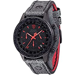 Detomaso Firenze Men's Quartz Watch with Red/Black Forza Di Vita Chronograph Quartz Leather DT1073 Retro A