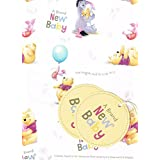 Winnie the pooh a brand new baby 2 sheets of gift wrap and 2 gift tags
