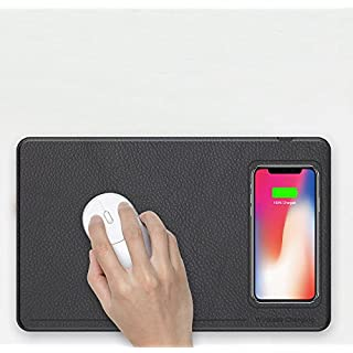 Wireless Charger Mouse Pad,AIJIWU Wireless Charger Qi Wireless Charging Charger Mouse Pad/Mat for iPhone X,iPhone 8 8 Plus, Samsung Note 8,S8,S7,S6/Edge,Nexus 5/6/7