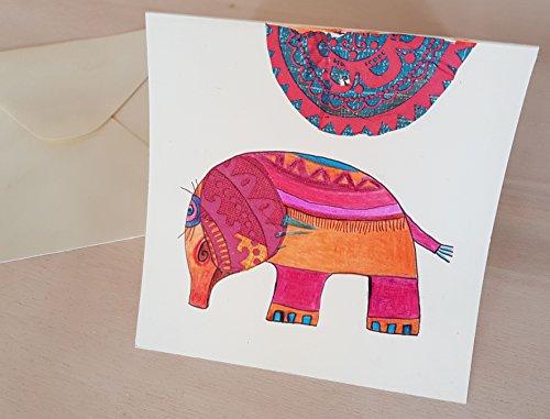 Karte, Grußkarte aus Papier mit Kuvert, Elefant, Original, Collage