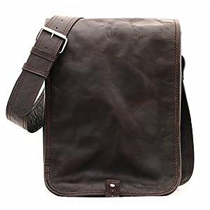 PAUL MARIUS LE MESSAGER (S) Marrón Oscuro bolsa de mensajero, bolso bandolera de cuero, estilo vintage y retro Vintage & Retro