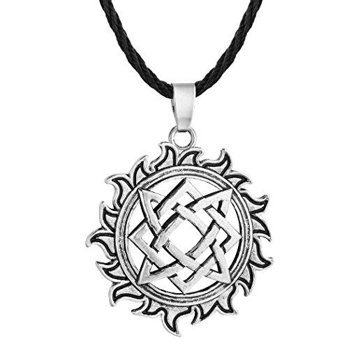 Chandler Vintage Antik-Schmuck Leder-Halskette für Frauen Antik Silber Svarog quadratischer Anhänger Talisman heidnische Halskette