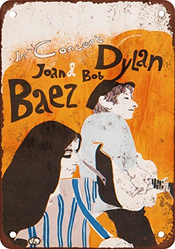 1965 Bob Dylan and Joan Baez Reproduction of Vintage Look Metal Metal Plate, 12 x 18 inches