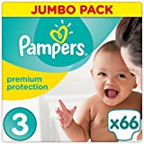 Pampers Premium Protection Windeln, Gr. 3 Midi (5-9 kg), Jumbopack, 1er Pack (1 x 66 Stück)