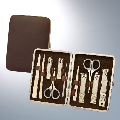 World No. 1, Three Seven 777 Travel Manicure Pedicure Grooming Kit Set - Nail Clipper (Total 10 Pcs, Model: TS-393WG), Lifetime Warranty - Made in Korea, Since 1975 by Three Seven (777)