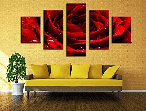 Wowdecor Art Wand 5Stück Leinwand Prints mehrere Bilder-Rot Rose Blume Giclée-Bilder Malerei auf Leinwand gedruckt, Poster Wand Decor Geschenk, ungerahmt, Large -