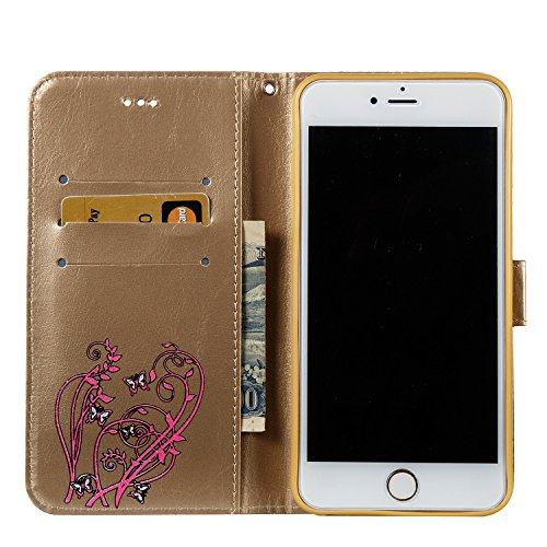 Custodia iPhone 6 Plus, iPhone 6S Plus Flip Case Leather, SainCat Custodia in Pelle Cover per iPhone 6/6S Plus, Bling Glitter Anti-Scratch Book Style Protettiva Caso PU Leather Flip Portafoglio Custod Doro