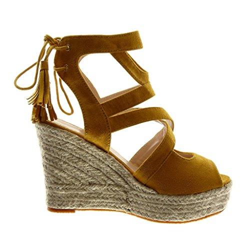 Femme Toe Sandale Multi Mode 11 Angkorly Plateforme Chaussure SVpUzM