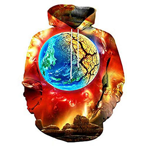 TUWEN WeihnachtskostüM Doomsday Print Herren Herbst Winter Mantel Flut Marke 3D Digital Drucken Herren Sweatshirt