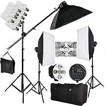 BPS 2850W -15 lampadine illuminazione Continuo Softbox Kit con 3x portalampada/3x Softbox(50cmx70cm)/15x lampade/1x BOOM/2x Supporto/1x (Le Studio)