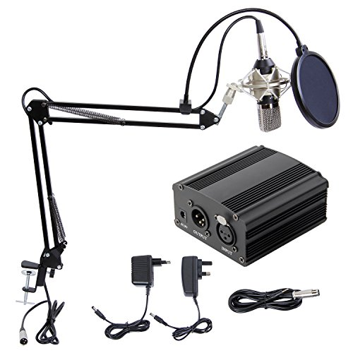 Hiwatch XRL zu 3.5 mm Kondensator-Mikrofon Kit Schall Podcast Studio Rundfunk & Aufnahme Microphone für Computer mit 48V Phantomspeisung und EU AC Stecker Konverter & Mikrofon Sets Schwarz