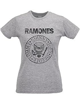 LaMAGLIERIA Camiseta Mujer Slim Ramones Grunge Black Print - T-Shirt Punk Rock Iconic Band 100% Algodòn Ring Spun