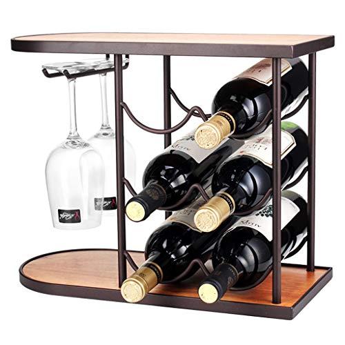 Tresb Unabhängiges Weinregal aus Holz, 6 Flaschen Wein, 2 Weinglasständer, Vertikale Lagerung Perfektes Weinregal, Weinkeller, Schränke und Vorratsraum, Holz + Eisen, 40 cm * 32 cm -