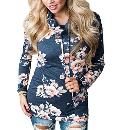 Amlaiworld Sweatshirts Frauen Rollkragen weich Baumwolle Sweatshirt Damen mit Aufdruck Blume bunt Pullover Herbst Winter Pulli für M?dchen (M, Blau)