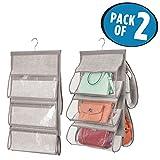 mDesign 2er-Set Handtaschen Ablage – hängender Stoffschrank – Hängeaufbewahrung für bis zu 5 Taschen – clevere Aufbewahrung – grau