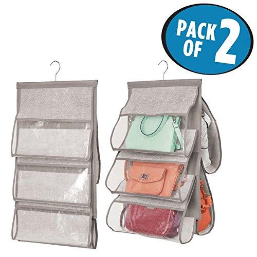 Foto de mDesign Juego de 2 organizadores de armarios – Práctico colgador para bolsos – El perfecto organizador de bolsos para armario – Capacidad hasta 5 bolsos – Color: gris