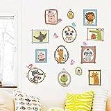 WandSticker4U- Wandtattoo süße Tierportraits   Wandbild: 100x100 cm   Wandsticker Tiere Fuchs Hase Bär Vogel Wandaufkleber Poster selbstklebende Bilderrahmen   Deko für Kinderzimmer Babyzimmer