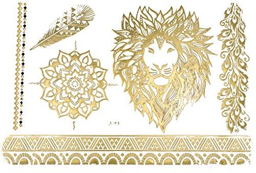Temporäres Arm Fake Löwe Mandala Tattoo Set für Frauen mit Motiv | Entfernbare Klebe Henna Tattoos Festival Abzieh-Tattoo Folie | Künstlich Schwarze Körperkunst Aufkleber Arm Sleeve Temporary
