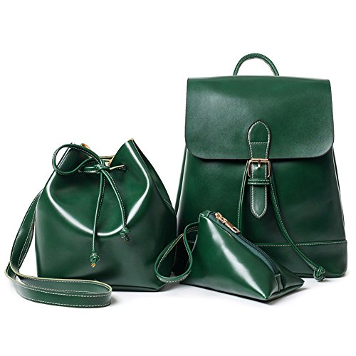 (3 teiliges) Young & Ming Damen Rucksack Handtasche PU Leder Backpack lässig Querkörperarbeit Taschengeldbeutel Umhängetasche für Damen Grün