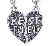 EVRYLON Collana Cuore a metà con Ciondolo Scritta Best Friends -Migliori Amici - collanina dell' Amicizia Due Collane Divise Colore Nero