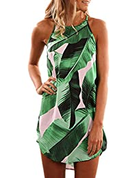 FIYOTE Femme Mini Robe Casual Trapèze Imprimée Floral Robe d'été Boho Bretelles Sexy Robe de Plage Robe de Soirée Crayon Tunique Jupon EU36-50 5 Couleurs