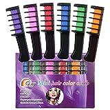 SySrion 6 Farben temporäre Haarfärbekreiden Set Kammform - plus 2 Paar Einweg-Handschuhen & 2 Stück Einweg-Umhange