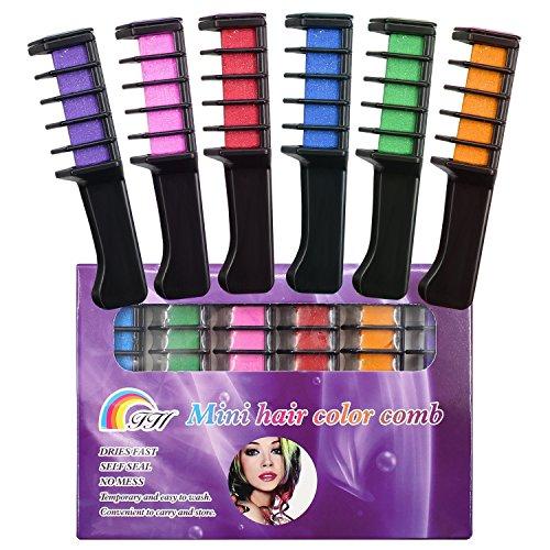 SySrion 6 Farben temporäre Haarfärbekreiden Set Kammform - Haarkreide schimmernde auswaschbare Haarfarbe in 6 verschiedenen Farbtönen