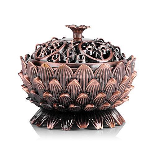 Vintage Quemador Incienso Lotus Forma Aleación Herramienta
