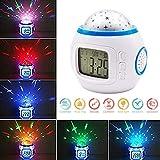 Shinely LED Uhr Digital Musik Wecker für Kinder mit Sternenhimmel Projektion Nachtlicht 7 Farbwechsel Effekt Thermometer Kalender