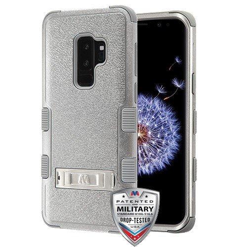 MyBat Samsung-Galaxy, Grau, strukturiert, Kupfer, grau, Tuff Hybrid-Schutzhülle (mit Ständer)-Military-Grade -