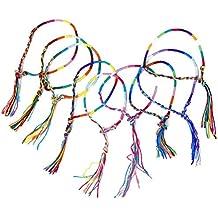 PIXNOR 9 pcs Hecho a mano de la muñeca de pulseras tobilleras trenzado multihebra (colour