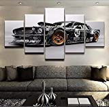 mmwin Moderna HD Stampata su Tela Decorativa per la casa 5 Pezzi RTR Car Poster Work Wall Art Pictures