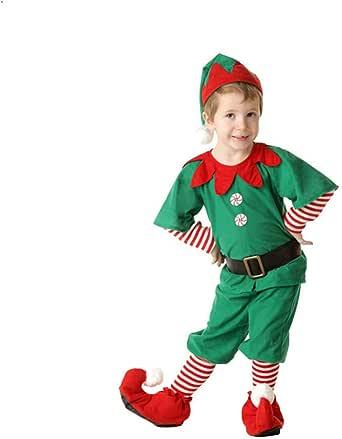 Bambini Ragazzi Ragazze Rosso Costume Elfo Natale Costume Babbo Natale Aiutante Vestito Cappello