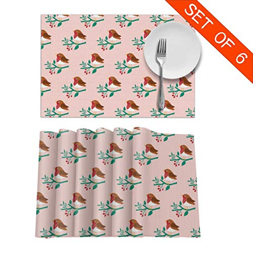 Round-robin-bar (BigHappyShop Placemats Happy Robin On Twig Blush Heat Insulation Non Slip Plastic Kitchen Stain Resistant Placemat for Dining Table Set of 6)