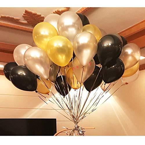 BELLE VOUS Globos de Látex (12 Pulgadas) - 34 Globos Dorados, 34 Negros, 34 Blancas Globo - 3 Globos de Corazón Deazón Cumpleaños, Bodas, Graduaciones, Despedidas de Soltera