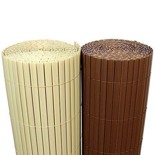 Rapid Teck (5€/m²) PVC Bambus Sichtschutzmatte 120cm x 500cm [Bambus Natur] Sichtschutz/Windschutz/Gartenzaun/Balkon Umspannung Zaun