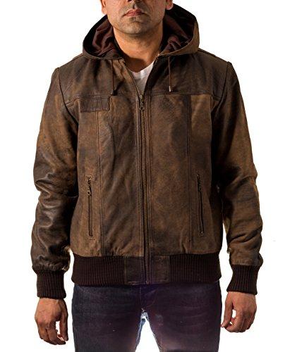 Herren Braune Echtes Leder Weinlese klassische Bomber Kapuzenjacke, Brown Vintage, M / 48 (Leder Echt Braune Jacke)