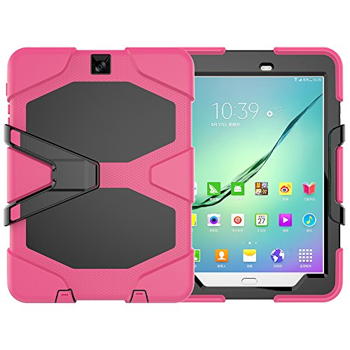 y Tab S2 9.7 LTE Hülle, Tough Rugged Shockproof Hybrid Kickstand Protection Back Cover Case mit Stand für Samsung Galaxy Tab S2 9.7 Zoll (Rose rot) ()