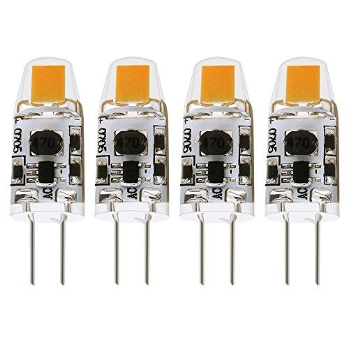 Albrillo 1.5W G4 LED Lampe COB dimmbar, aus Silika Gel, Warmweiß (3000 Kelvin), 120 Lumen, AC/DC 12V, 4er Pack