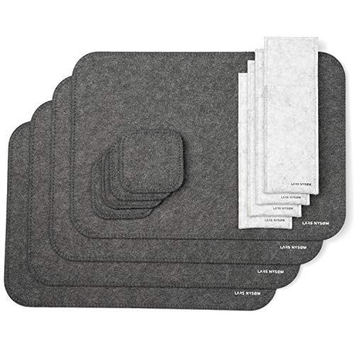 Lars Nysøm® Design Platzset AMBIENCE | 12 teiliges Filz Tischset für 4 Personen | Ideal als Geschenk