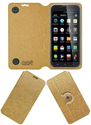 Acm Designer Rotating Flip Flap Case for Iball Andi 5-E7 Mobile Stand Cover Golden  available at amazon for Rs.399