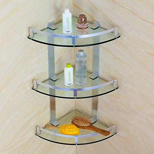 WENZHE Duschecke Ablagen Badezimmerregal Badregal Duschregal Regale Wandregal Ecke Lager Aluminium Glas 3 Schichten, 3 Größen (größe : 200mm)