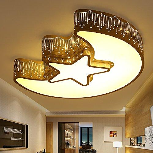 Mond Trommel-kunst (Kreative Sweet Mond Und Sterne Decken-Mond Und Sterne Schlafzimmer Romantisch Minimalistisch Wohnzimmer Lampe Led Lampen Für Jungen Und Mädchen Kinderzimmer,55 * 40 32W Weiß)