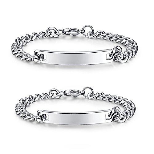 Jewellery-Coppia di bracciali da donna con braccialetto in acciaio INOX con incisione personalizzata per Lover, Braccialetto da uomo (lover(una coppia))