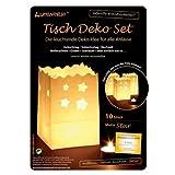 Tisch Deko-Licht-Tüten Sterne 16 x 11 x 11 cm 10 Stk. weiß Verkaufseinheit = 1 Beutel