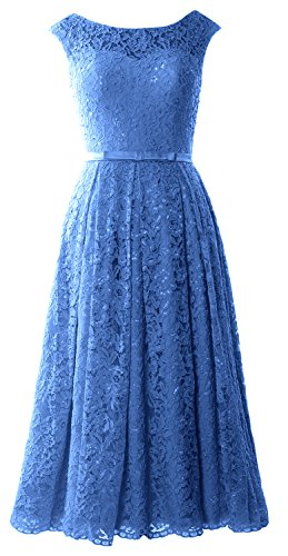 MACloth Caps Sleeve Lace Cocktail Dress Tea Length Wedding Party Formal Gown Horizon