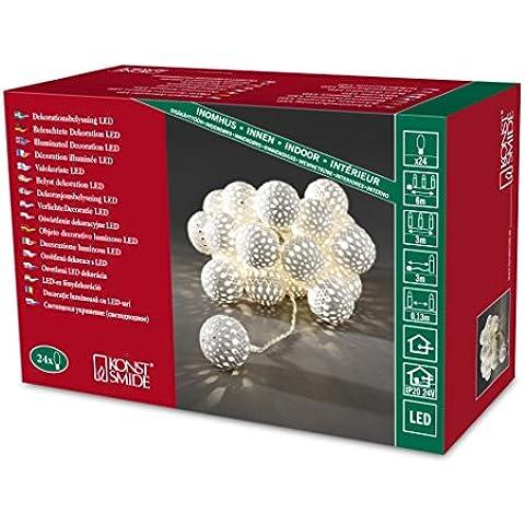 Konstsmide 3156-103 - Ghirlanda con la luce del LED (sfere di metallo bianco 20, 24 diodi bianco caldo, trasformatore interno di 24 V, cavo