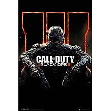 """Póster Call of Duty/Llamado del Deber """"Cover/Portada de Black Ops III"""" (61cm x 91,5cm) + 2 marcos transparentes con suspención"""
