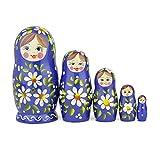 Russische Matroschka-Puppen, 5 traditionelle Matroschkas Romashka-Stil | Babuschka Holzpuppen, Blau mit weißem Blumen-Design, Handgefertigt in Russland | Romashka, 5 Stück, 14 cm (5,5 Zoll)